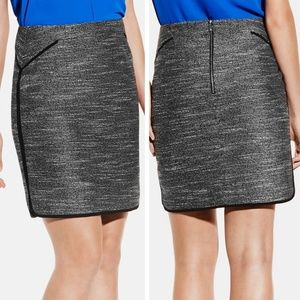 Vince Camuto Black & White Tweed Rounded Hem Skirt